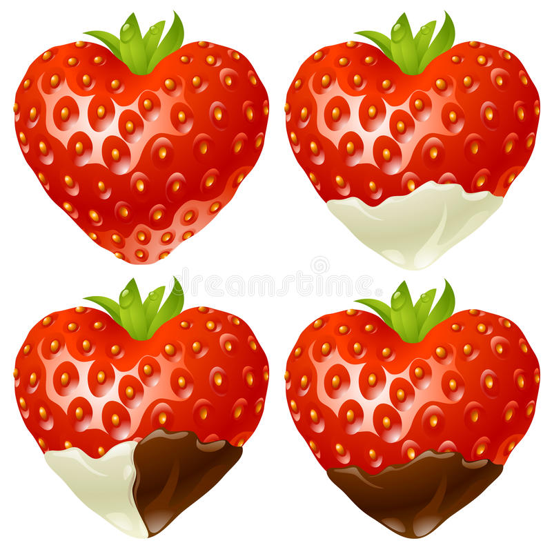 Download Strawberry In The Shape Of Heart Stock Illustration - Image: 17883393