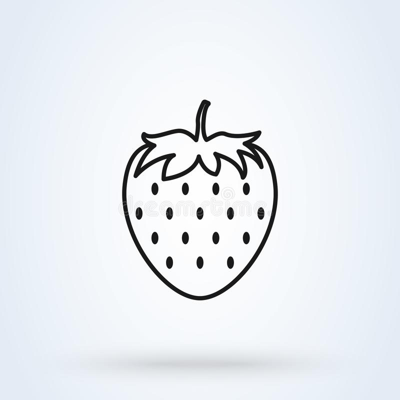 Strawberry simple flat style. Line art Vector illustration icon isolated on white background vector illustration