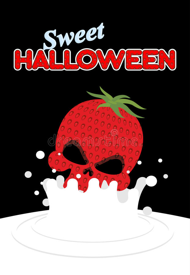 Strawberry skull falls in milk. Splashes of white milk. Vector i. Llustration for Halloween stock illustration
