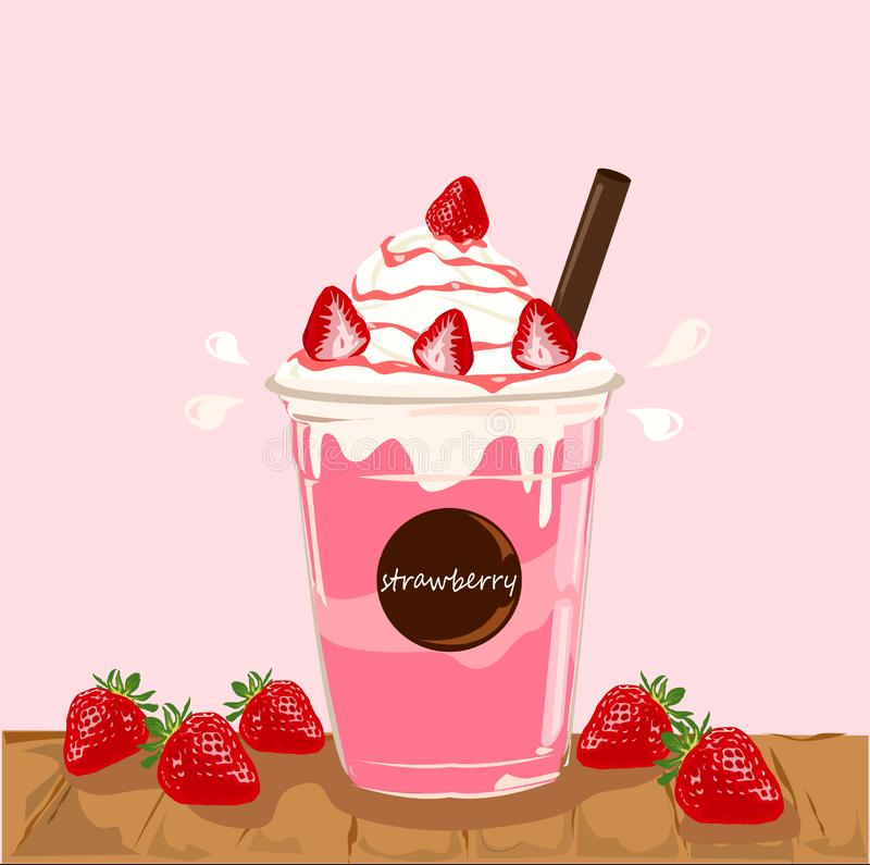 Strawberry smoothie,Healthy juice with berries. royalty free illustration