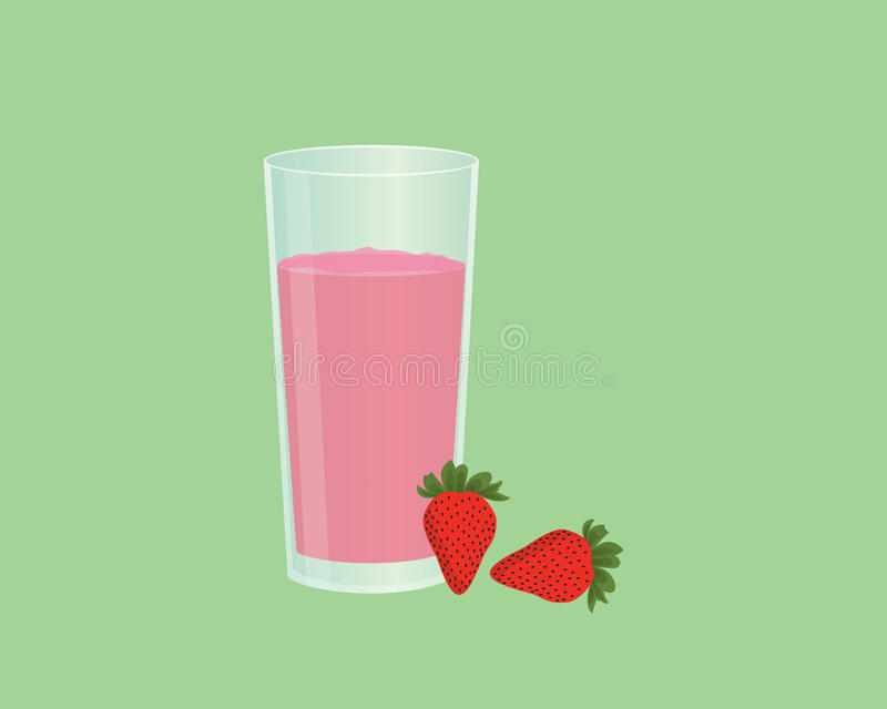 Strawberry smoothie juice with fruit and a glass of the smoothies with flat style vector illustration