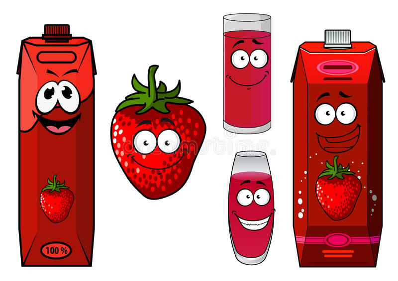 Strawberry smoothie or juice icon set vector illustration