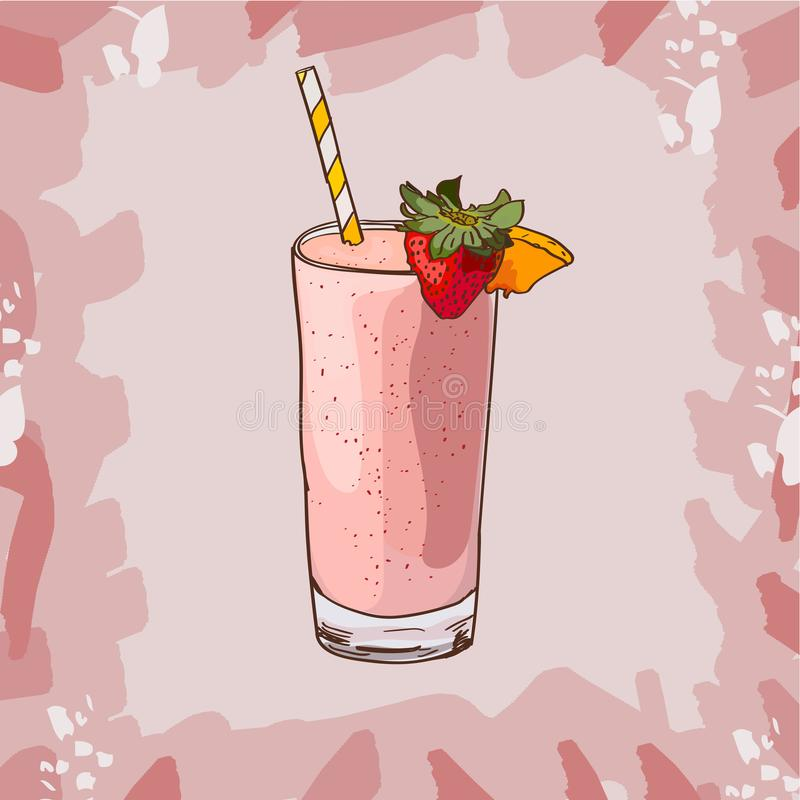 Strawberry smoothie recipe. Menu element for cafe or restaurant with energetic fresh drink. Fresh juice for healthy life royalty free illustration