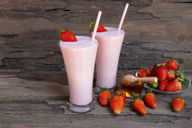 Strawberry smoothies colorful fruit juice milkshake blend beverage healthy . royalty free stock photo