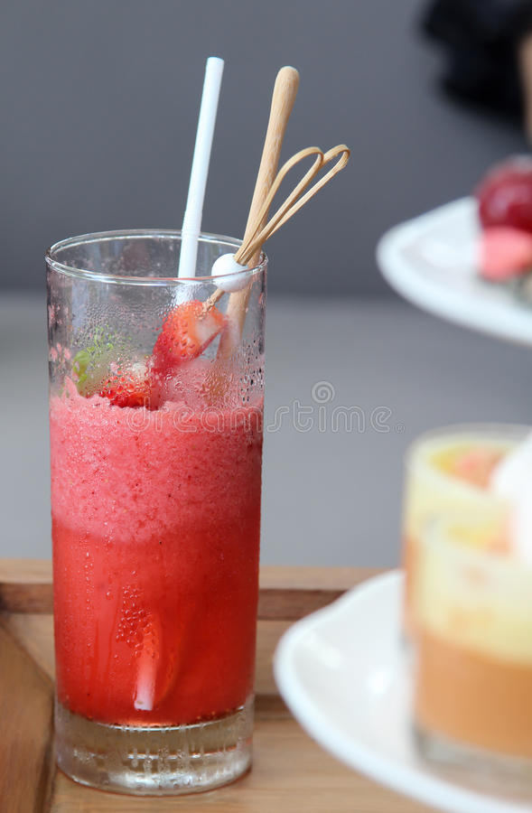 Strawberry smoothies. Strawberry smoothies decorate with fresh fruits stock image