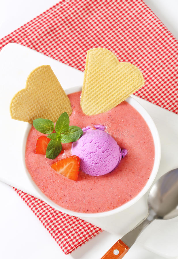 Strawberry soup with ice cream royalty free stock images