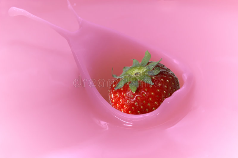 Strawberry splash. A strawberry splash in yogurt royalty free stock images