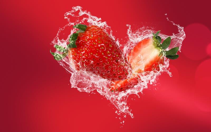 Strawberry splash royalty free stock images