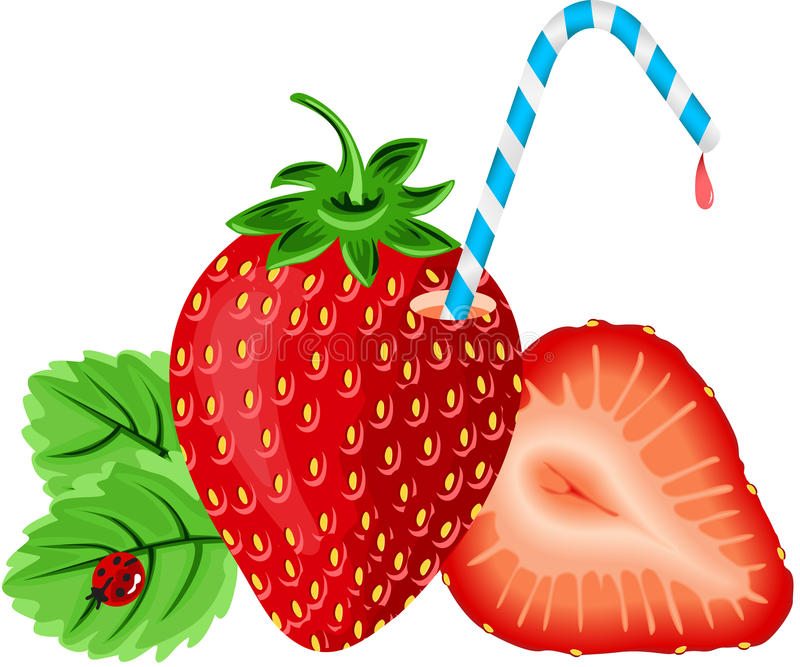 Strawberry with Straw. Scalable vectorial image representing a strawberry with straw, isolated on white royalty free illustration