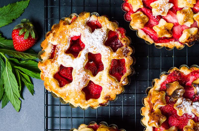 Strawberry sweet pie, pastry dessert royalty free stock images