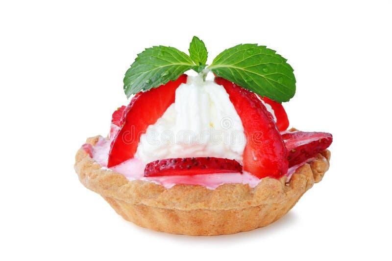 Strawberry tartlet on white royalty free stock photo
