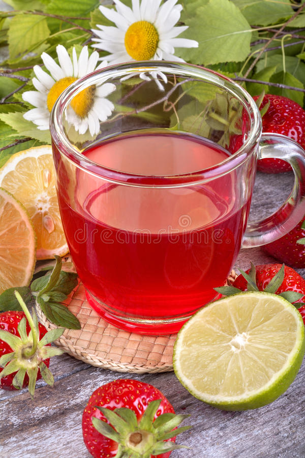 Download Strawberry tea stock image. Image of leaf, background - 40883931