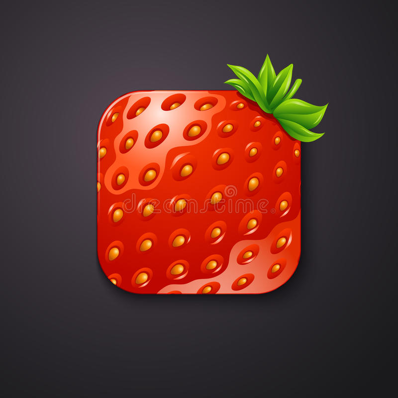 Strawberry texture icon stylized like mobile app. Vector illustration. vector illustration