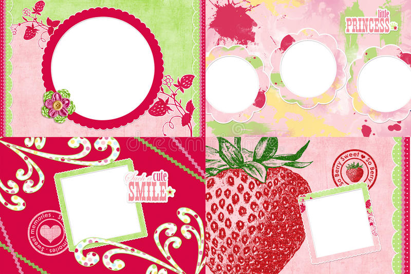 Strawberry themed photo frames stock photography