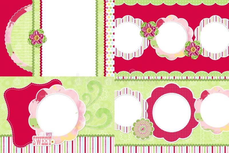 Strawberry themed photo frames royalty free illustration