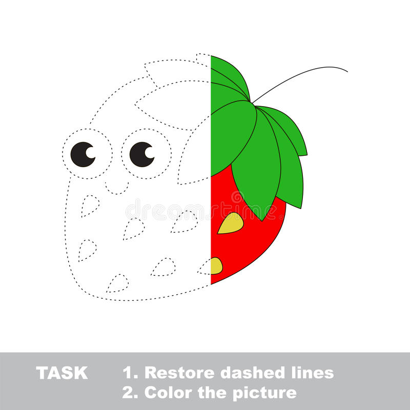 Strawberry to be colored. Vector trace game. Strawberry in vector to be traced. Restore dashed line and color the picture. Visual game for children. Easy stock illustration