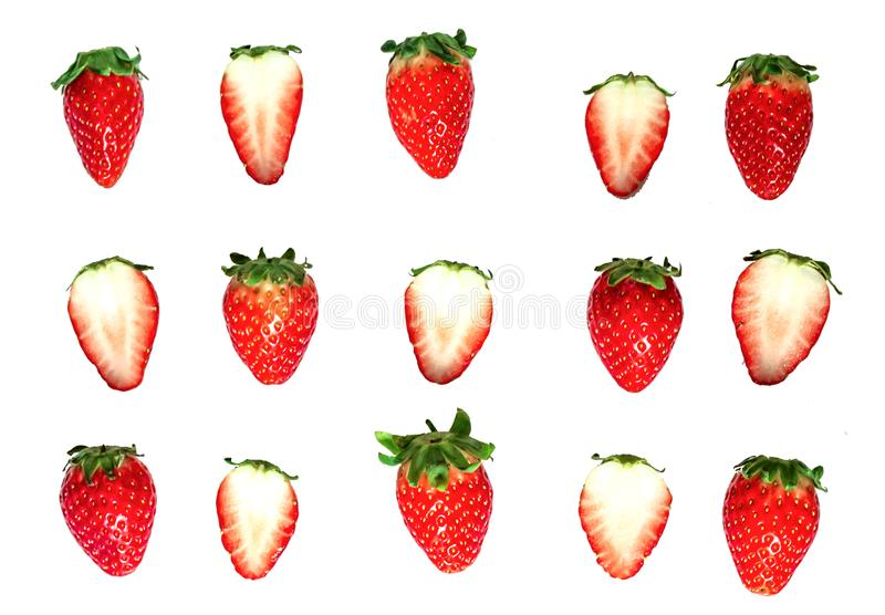 Strawberry top view isolated on white background.  stock image