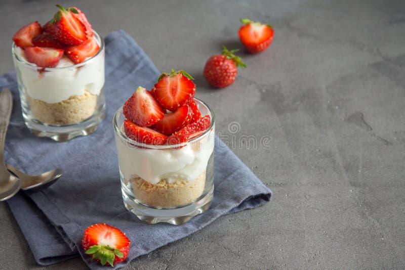 Strawberry trifle mini dessert royalty free stock image
