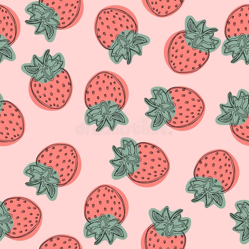 Strawberry vector pattern, fruit illustration on white background, Good for wallpaper. royalty free illustration