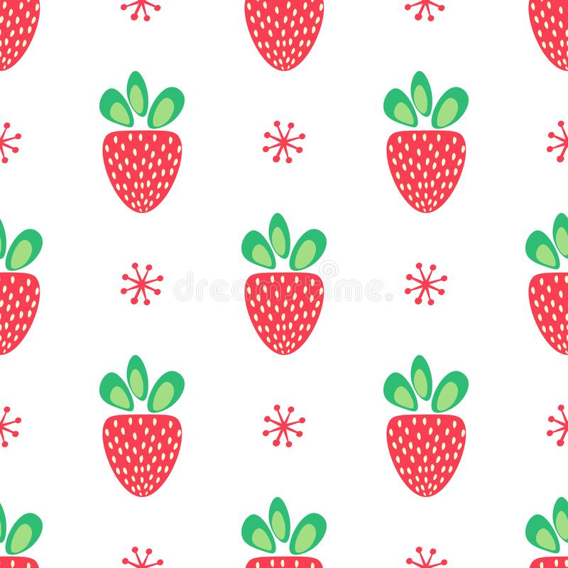 Strawberry vector seamless pattern of red berries with green leaves in simple decorative style on white background vector illustration