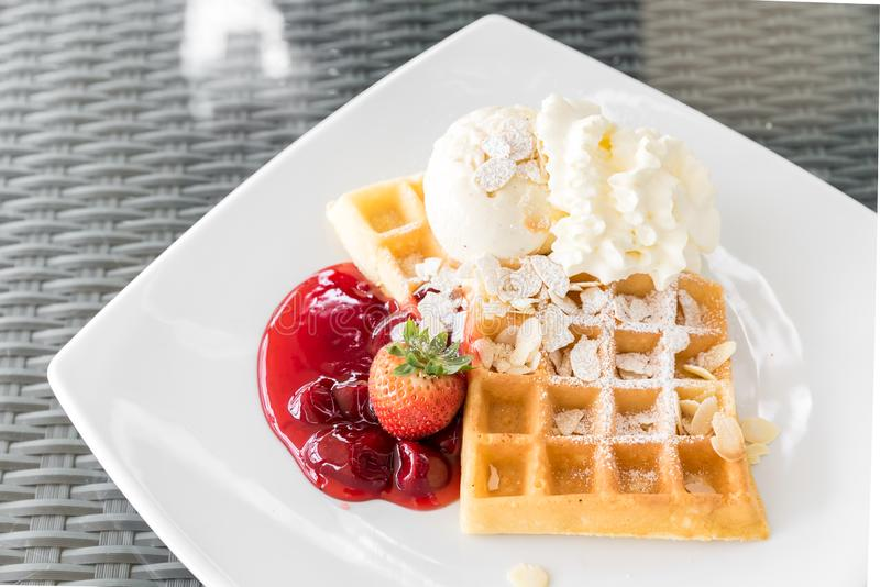 Strawberry Waffle stock photos
