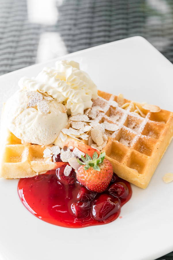 Strawberry Waffle stock photography
