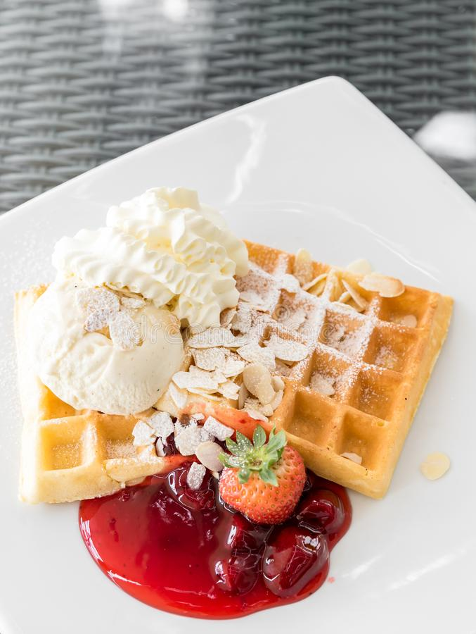 Strawberry Waffle royalty free stock photos
