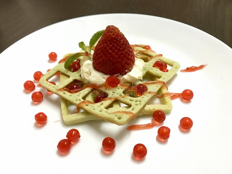Strawberry waffle royalty free stock photo