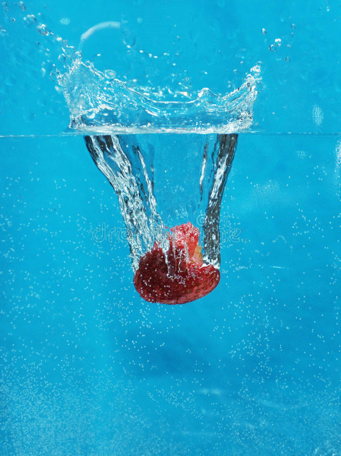 Strawberry in the water stock photos