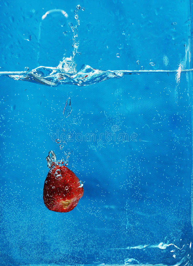 Strawberry in the water royalty free stock photo