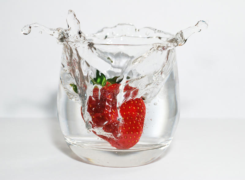 Strawberry and water stock photos
