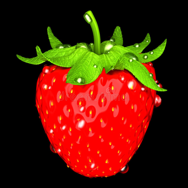 Download Strawberry With Water Drops Stock Illustration - Illustration: 16573262