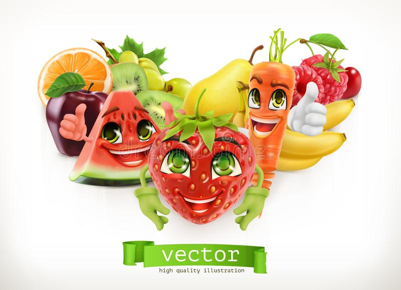 Strawberry, watermelon, carrot and juicy fruits. Funny cartoon characters. 3d vector illustration. Strawberry, watermelon, carrot and juicy fruits. Funny cartoon stock illustration