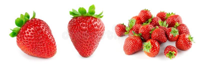 Strawberry on white background. Fresh sweet fruit closeup royalty free stock photo