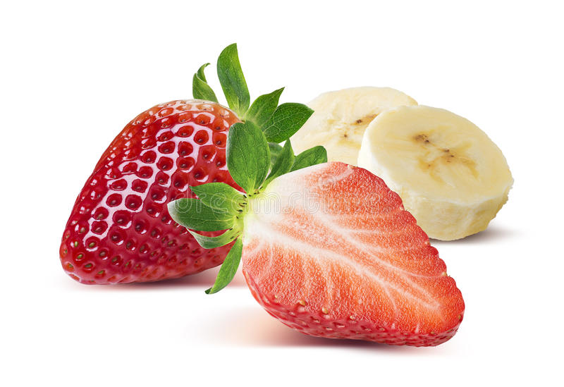 Strawberry whole and half, banana pieces on white backg. Round as package design element royalty free stock photography