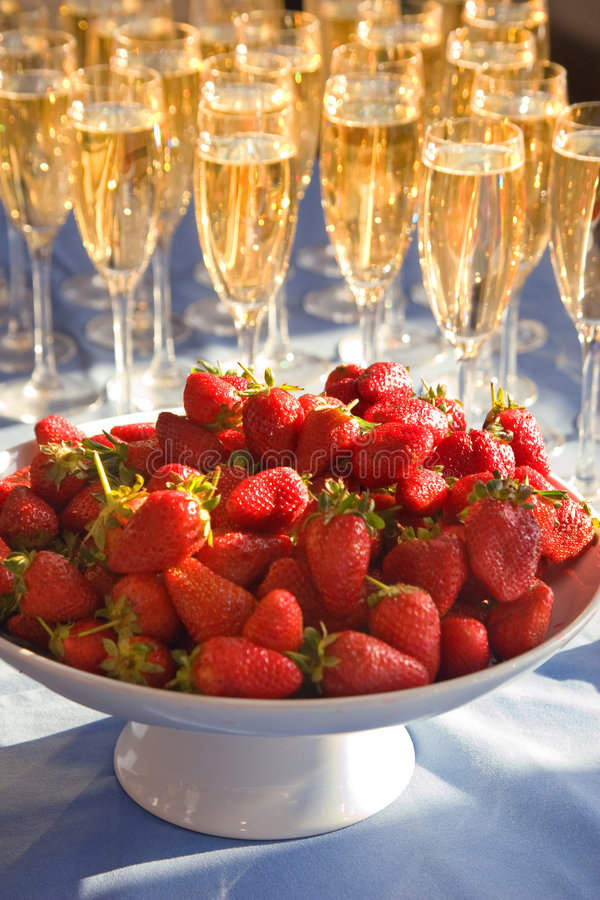 Strawberry and wine stock image