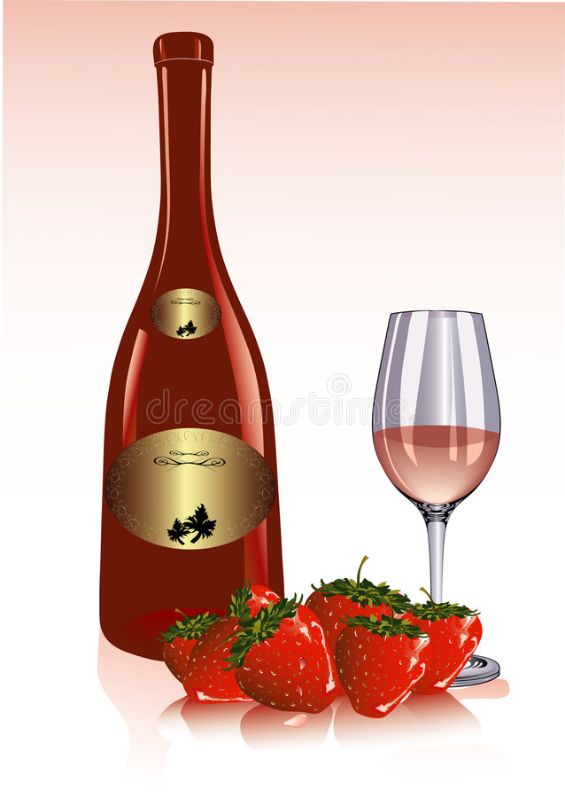 Download Strawberry and wine stock vector. Illustration of illustrations - 5648404