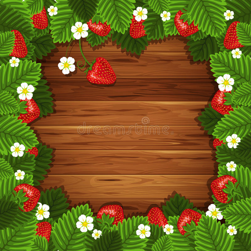 Download Strawberry On Wooden Background Stock Vector - Image: 25173216