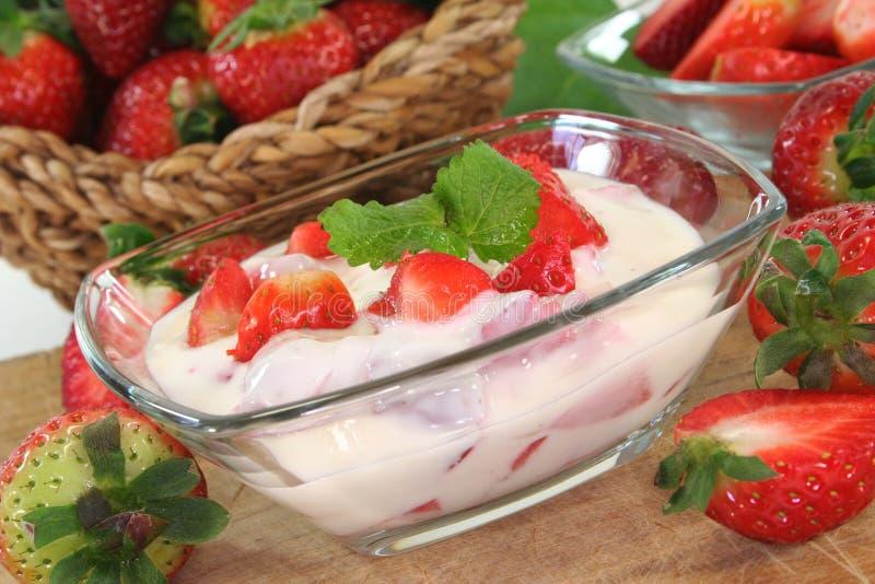 Strawberry yogurt stock images