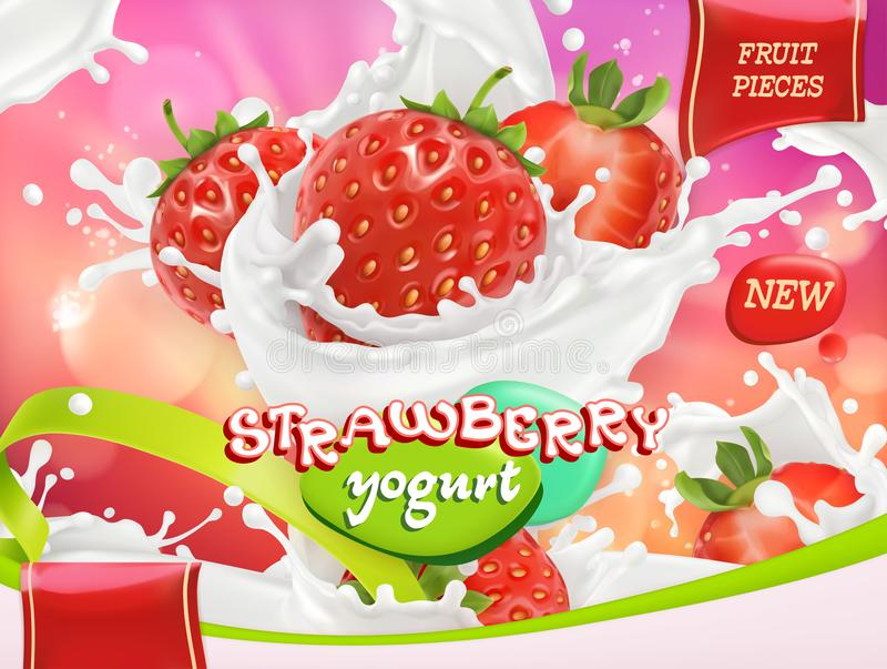 Strawberry yogurt. Fruits and milk splashes. 3d vector vector illustration