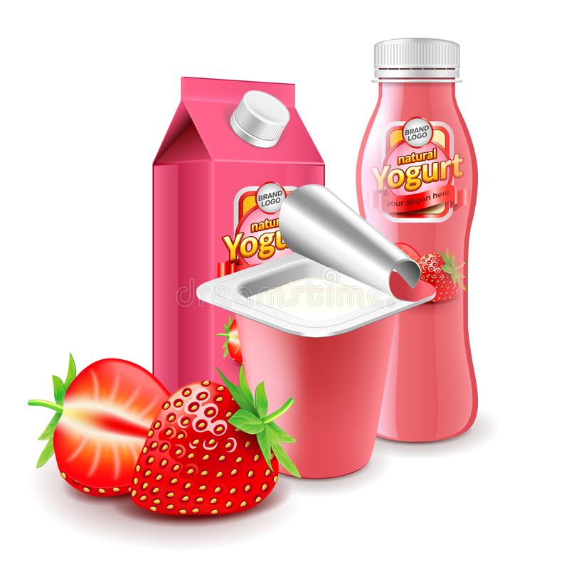 Strawberry yogurt packagings 3d photo realistic. Strawberry yogurt packagings box bottle and cup 3d photo realistic royalty free illustration