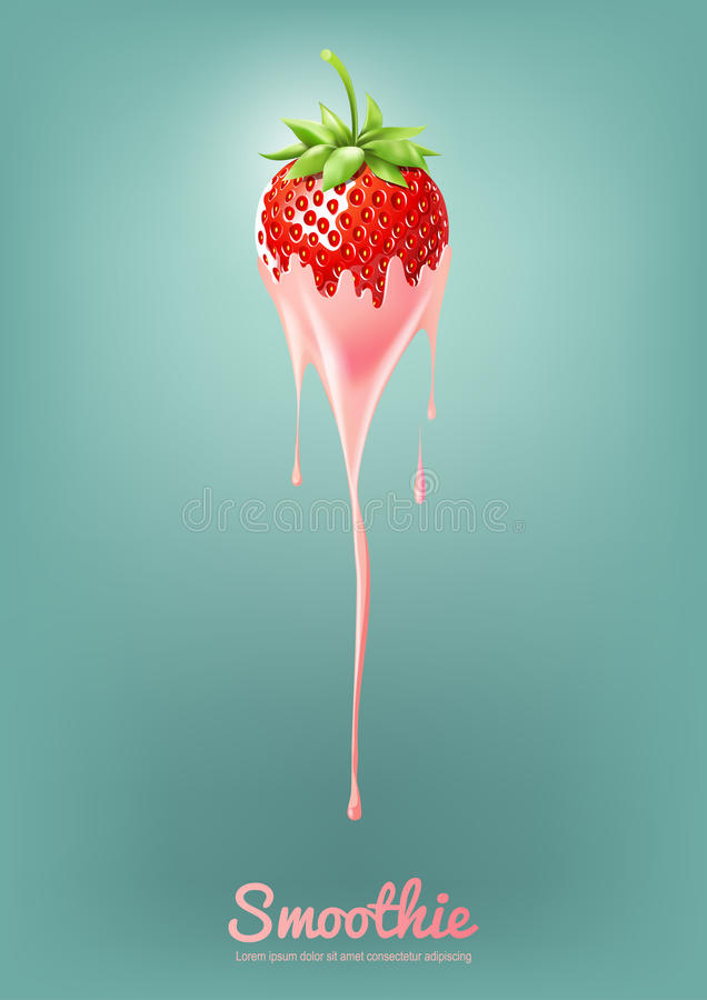 Strawberry Yogurt and Smoothie milk with fruit, Juice concept, Vector Illustration vector illustration