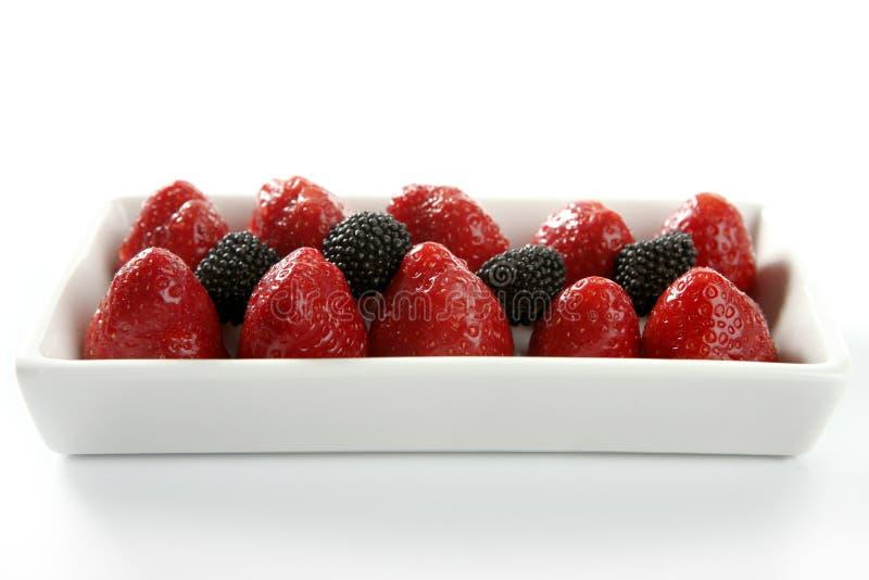 Strawberryes dessert. At studio white background royalty free stock photography
