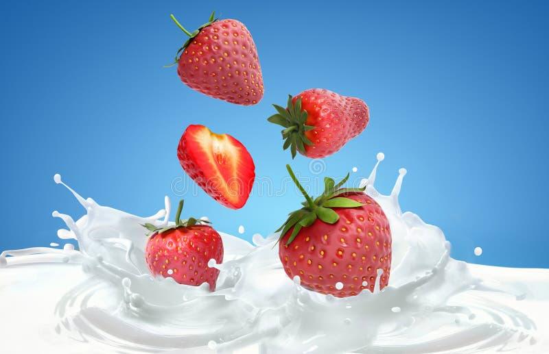 Strawberrys y chapoteo de la leche imagenes de archivo
