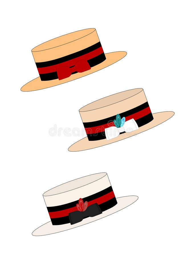 Download Strawboater hats stock image. Image of fashionable, boater - 35178647