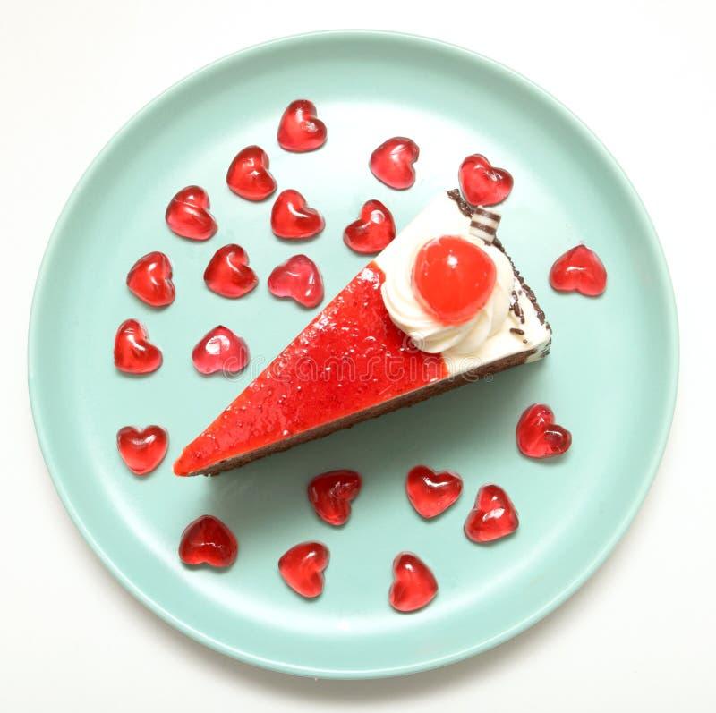 Strawbreey del dolce e cuore di rosso della gelatina immagini stock libere da diritti