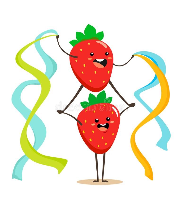 Funny cartoon strawberries with colored ribbons in their hands stand on top of each other. Vector illustration on white background vector illustration