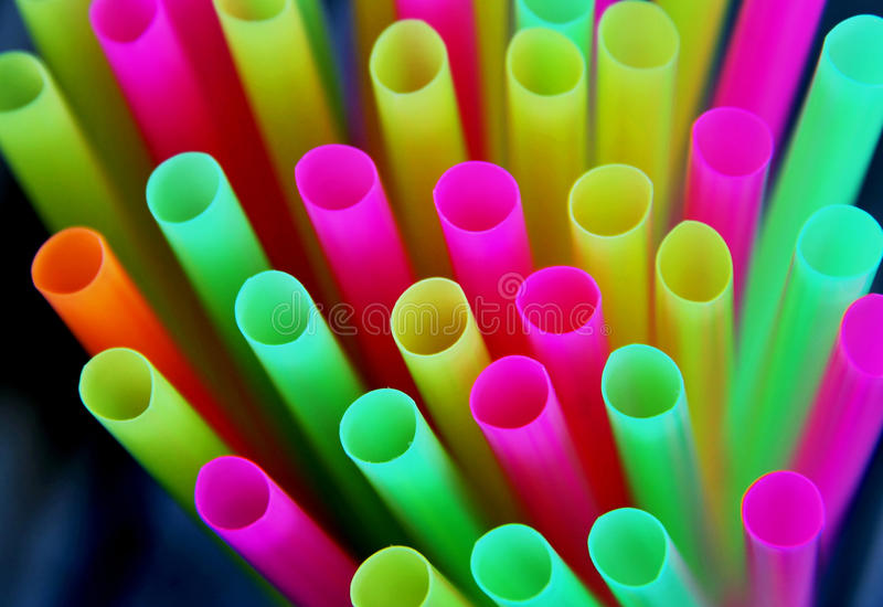 Straws. For drink in different, bright colors royalty free stock images