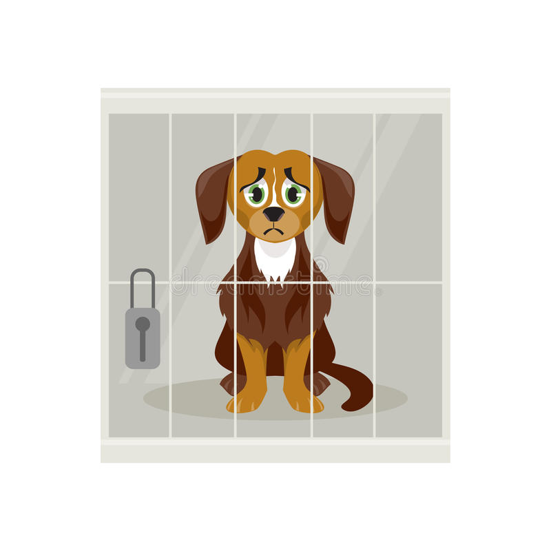 Stray dog in a cage. Sad homeless dog at the shelter. The animal control. Vector illustration vector illustration