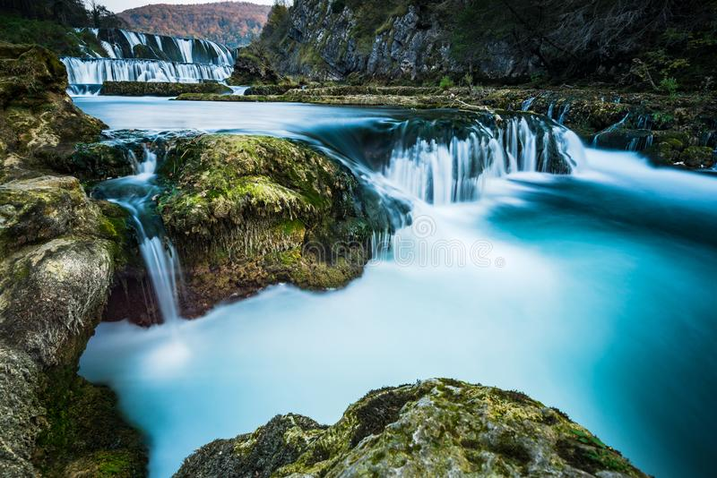 Strbacki buk waterfall on river Una in Bosnia and Croatia border stock image